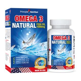 Viên uống dầu cá tự nhiên Omega 3 Natural Fish Oil 1000mg PRINCIPLE NUTRITION USA bô sung ca c châ t be o không no hỗ trợ sức khỏe xương khớp tim mạch giu p chô ng la o ho a giảm trầm cảm giúp dễ ngủ và cải thiện sự tập trung - Hộp 300 viên - O3-PRINCIPLENUTRITION(300s) thumbnail