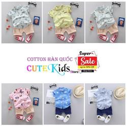 Bộ quần áo sơ mi bé trai bé gái HUQIQI cho bé từ 1 đến 8 tuổi chất cotton hàn quốc thời trang trẻ em phong cách hiện đại
