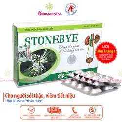 Stonebye hộp 30 viên lợi tiểu giảm sỏi thận hỗ trợ đào thải cặn đường tiết niệu giảm sỏi thận 2 bên đi tiểu ra máu đau âm ỉ bàng quang tiểu rắt buốt khó tiểu tiện an toàn hiệu quả tăng chức năng thận thành phần thảo dược quý