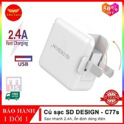 Củ sạc nhanh chính hãng SD DESIGN C77s Chân Gập 90 độ tương thích tất cả các thiết bị điện thoại iphone, Huawei, Xiaomi, samsung, oppo Bảo hành 1 đổi 1