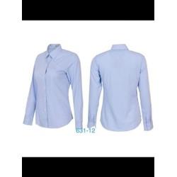 áo sơ mi nữ Thái Hòa sọc xaro nhuyễn màu xanh dương