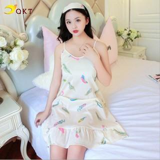 Váy đầm 2 dây QKT thiết kế đuôi cá mặc nhà đi ngủ tiện lợi VN16 - VN16. thumbnail