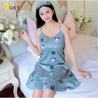 Váy đầm 2 dây QKT thiết kế đuôi cá nhiều họa tiết mặc nhà đi ngủ tiện lợi VN15 - VN.15 thumbnail