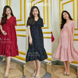 Váy bầu đầm bầu suông big size thời trang