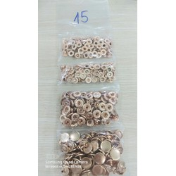 Nút bấm 4 thành phần (nút bóp) Nút quần jean 4 thành phần Loại 15mm Bằng thau Màu bạc, vàng, đồng, đen Phụ liệu may mặc