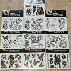 Set 5 tờ hình xăm Tattoo nước đen_ màu có 5 mẫu khác nhau