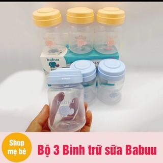 Bộ trữ sữa 3 bình cổ rộng Babuu Baby Nhật Bản 120ml - BTS thumbnail