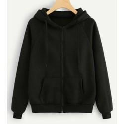 FREESHIP Áo hoodie khóa zip unisex black - hoodie dây kéo form rộng màu đen M L XL 2XL 40kg - 85kg