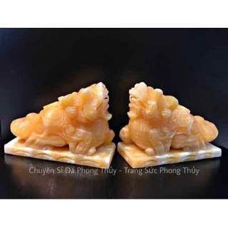 Cặp tỳ hưu ngọc Hoàng Long 15cm kèm đế - CTHNHL20 thumbnail