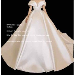 áo cưới trắng phi tùng phồng làm lễ chụp hình