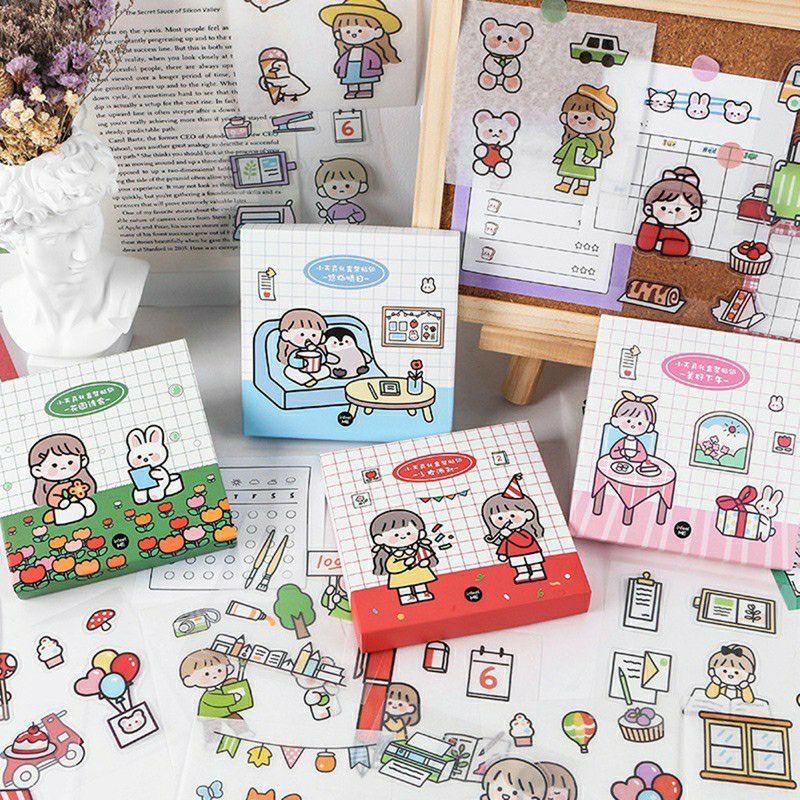 Hộp 50 tấm hình dán stickers và 10 tấm giấy ghi chú 4 mẫu cực kỳ xinh xắn có sẵn bế