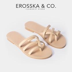 Dép nữ thời trang Erosska thiết kế phối dây phong cách trẻ trung màu nude _ DE031