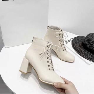 Bốt nữ cao gót, khóa sau mix dây buộc style xứ Hàn - 4470448055 thumbnail