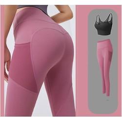 Bộ Đồ Tập Gym, Yoga, Aerobic Nữ - Quần Áo Thể Thao Nữ Áo Bra 2 Dây Có Mút Đệm Lưới Lưng Và Quần Dài Cạp Cao Có Túi Đùi