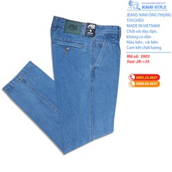 [HÀNG CHÍNH HÃNG] Quần jeans nam trung tuổi ống thụng, túi chéo 3903M