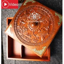 Khay mứt 5 ngăn bánh kẹo trạm khắc song ngư vuông 27cm cao 10cm [ĐƯỢC KIỂM HÀNG]