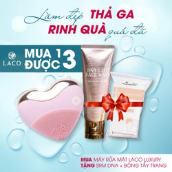 Máy rửa mặt LACO Luxury rửa sạch sâu, massage đẩy tinh chất, tăng sinh collagen, thon gọn hàm, giảm nọng cằm, trẻ hóa làn da