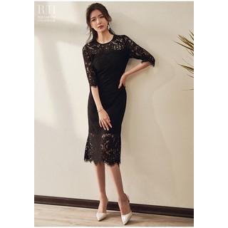 Đầm ren cổ tròn tay dài dáng váy suông chữ a - 0009719 thumbnail