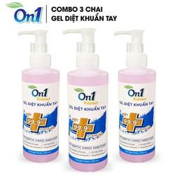 COMBO 3 chai Gel rửa tay khô diệt khuẩn On1 Protect 250ml hương Bamboo Charcoal (Mẫu mới 2021)