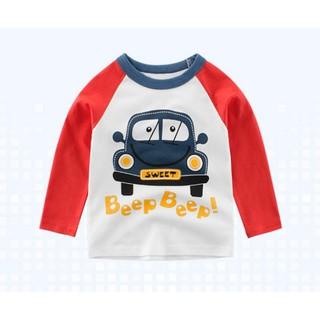 Áo thun cho bé cao cấp tay dài vải cotton hình xe hơi in chữ Beep Beep - BB1A thumbnail