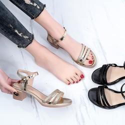 GIÀY BIG SIZE HÀNG CÓ SẴN SIZE (40-43)_ Giày Sandal ánh nhũ gót vuông BIG SIZE