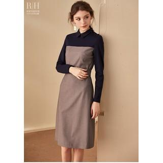 Đầm cổ sơ mi phối 2 màu xám đen tay dài dáng chữa a - 0009720 thumbnail