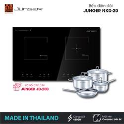 Bếp đôi điện từ hồng ngoại Junger NKD-20 - Công suất 4200W - mặt kính Ceramic - Bảo hành 2 năm chính hãng - MADE IN THAILAND