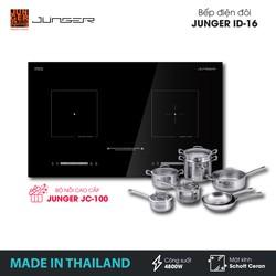 Bếp đôi điện từ hồng ngoại Junger ID-16 - Công suất 4800W - mặt kính Schott Ceran - Bảo hành 2 năm chính hãng - MADE IN THAILAND