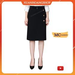 Chân Váy Chữ A Dài, Mc Fashion Kiểu Dáng Công Sở, Qua Gối, Lưng Cạp Cao, Màu Đen, Đẹp, Cv0443
