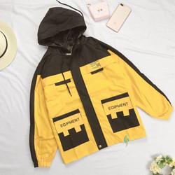 Áo khoác kaki form chuẩn phong cách Hàn Quốc, áo khoác kaki nam nữ,(FreeSize dưới 65Kg), túi phối khác màu