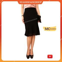 Chân Váy Đuôi Cá Mc Fashion Đẹp Kiểu Dáng Nữ Công Sở, Lưng Cạp Cao, Dài Qua Gối, Vải Voan, Màu Đen, Cv0423