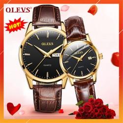 Đồng hồ cặp đôi OLEVS cho nam và nữ, mặt số thạch anh, chống nước, chống xước cực tốt, kim phát quang ban đêm , dây da nâu chính hãng, tặng hộp da cao cấp, quà tặng sang trọng, đẳng cấp - BẢO HÀNH 12 THÁNG