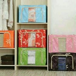 Combo   Bộ 2 hộp đựng chăn màn quần áo khung thép tiện dụng