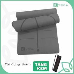 Thảm Tập Yoga TPE Định Tuyến 8mm 1 lớp Xám Ghi Kèm Túi