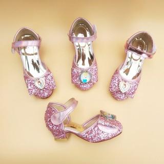 Được kiểm tra hàng - Giày bé gái cao gót 2cm công chúa kim tuyến