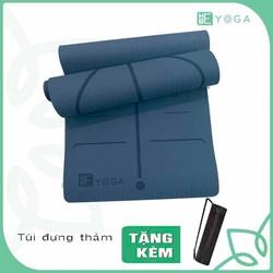 Thảm Tập yoga TPE Định Tuyến 8mm 1 lớp Xanh Đen Kèm Túi