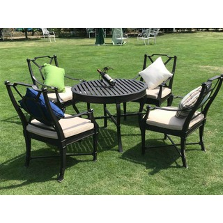 Mẫu bàn ghế nhôm đúc ngoài trời (hình tròn - 4 ghế -có đệm ghế) - bobanghe23 thumbnail