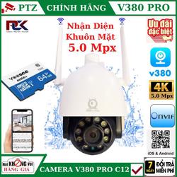 CAMERA WIFI V380 PRO NGOÀI TRỜI 5.0 Mpx PTZ C12 , theo dõi chuyển động , đàm thoại 2 chiều Kèm Thẻ 64GB