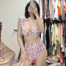 Đồ bơi bikini hai cánh tiên ️Freeship️ nền trắng hoa hồng nhí mặc đi biển đi bơi đẹp Hà Nội