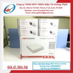 Đầu ghi hình 4 kênh DS-7104HGHI-F1 kèm 4 camera hồng ngoại siêu nét DS-2CE16B2-IPF chính hãng Hikvision