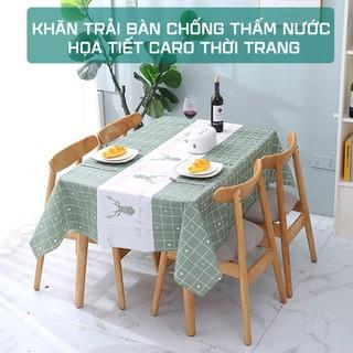 Khăn trải bàn chống thấm nước họa tiết caro thời trang cao cấp - KTB thumbnail