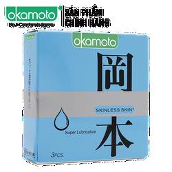 Bao Cao Su Okamoto Skinless Skin Supper Lubricated có thêm gel bôi trơn hộp 3 - Che tên sản phẩm
