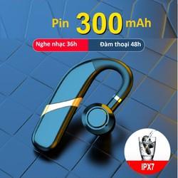 Tai nghe bluetooth 5.0 kết nối 2 điện thoại,móc tai xoay 180 độ, chống nước, Pin 300mAh nghe nhạc 30 giờ, đàm thoại 36 giờ, tặng kèm tai nghe phụ, Hỗ trợ chức năng điều khiển giọng nói Siri.