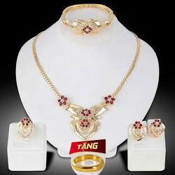 Bộ trang sức S925 Nữ hoa anh đào nhụy hồng dây chuyền bông tai nhẫn Thời trang Phong cách Nhật Bản