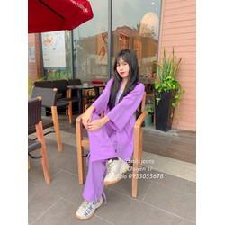 khoác nữ, áo blazer form rộng màu tím maikhanh shop