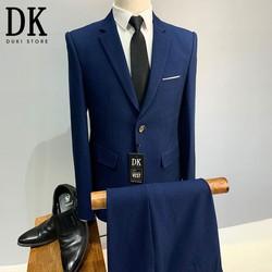 Bộ vest nam màu xanh than kẻ caro chìm cực chất - DUKI STORE