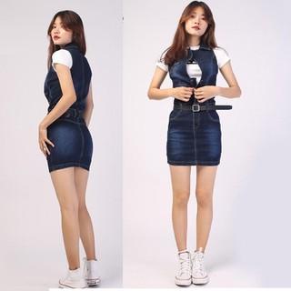 Váy yếm jean body trên gối, đầm yếm jeans [ĐƯỢC KIỂM HÀNG] 41185187 - 41185187 thumbnail