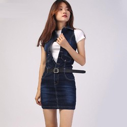 Váy yếm jean body trên gối, đầm yếm jeans