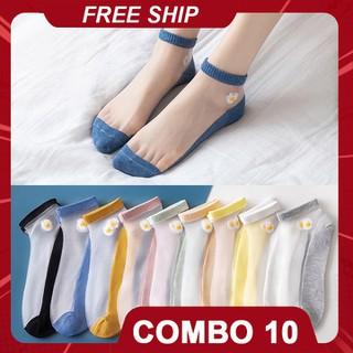 [FREESHIP] Combo 10 đôi tất nữ ren lưới hoa cúc tàng hình kèm túi dễ thương - CB10TLHC thumbnail