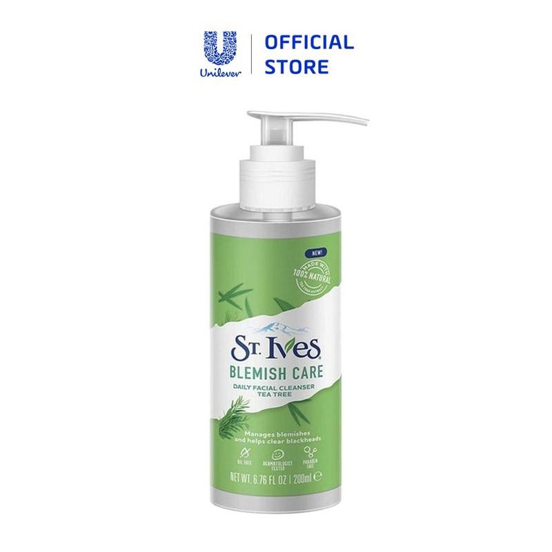 Gel rửa mặt dịu nhẹ ngừa mụn chiết xuất Tràm Trà St.Ives Blemish Care Daily Facial Cleanser Tea Tree 200ml - 8801619049259 1